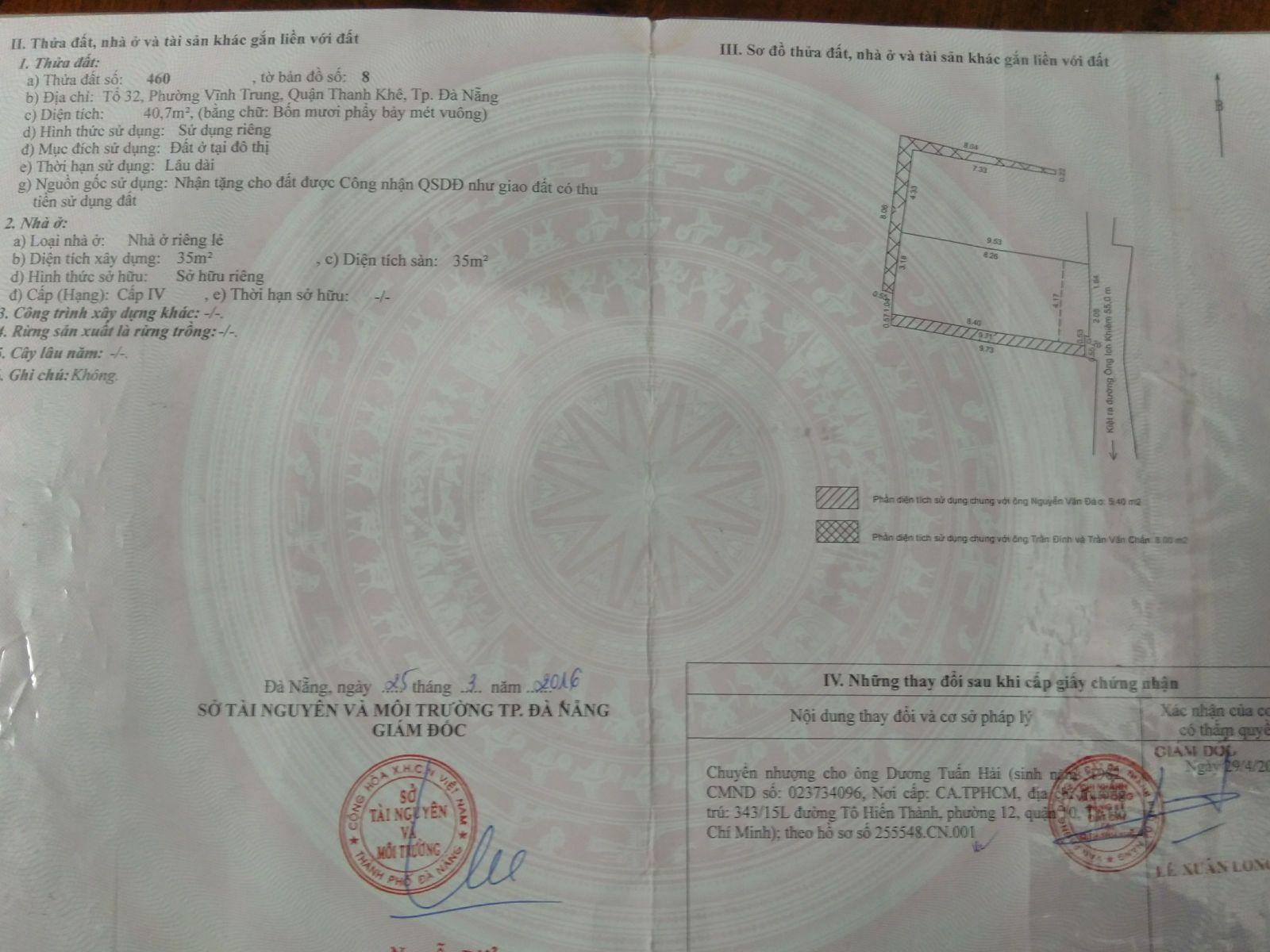 Bán nhà đường kiệt Ông Ích Khiêm Quận Hải Châu Đà Nẵng